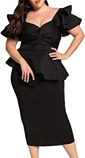 LALAGEN Womens Plus Size Ruffle Sleeve Peplum Cocktail Party Pencil Midi Dress