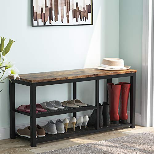 Tribesigns Estante de zapatos de madera de 2 niveles para pasillo, organizador de almacenamiento de zapatos de malla metálica