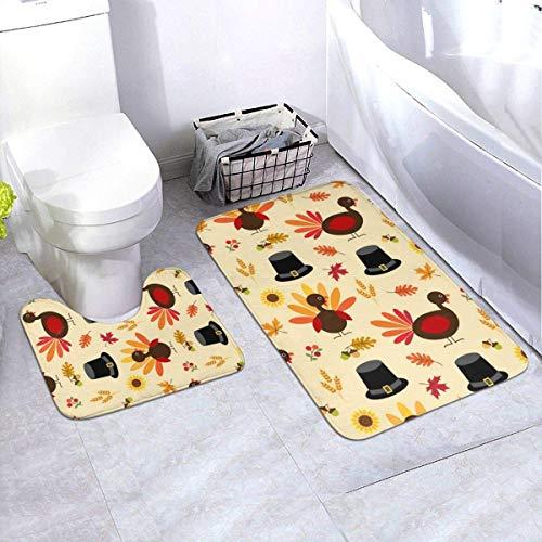 MrRui Thanksgiving Turkije en pelgrim hoed patroon 2 stuk badkamer tapijt set, niet slippen bad matten en contour bad tapijt combo