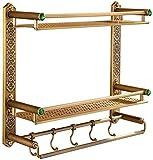 HYY-YY Badezimmerregal, 3 Etagen, Messing-Leite, schwebendes Regal, bronzefarben, Badezimmer-Ablage, multifunktionales Badezimmer-Ornament, Aufbewahrungsregal, 52 x 45 x 15 cm