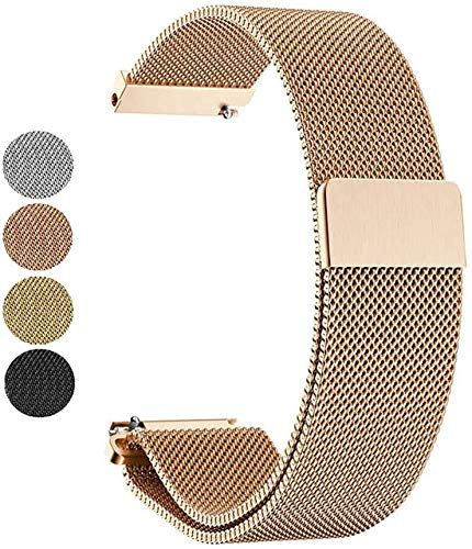 Mediatech Armband für Gear S3 Classic / S3 Frontier, 22mm Stegbreite Edelstahl-Armband, Ersatz Uhrenarmband, Wechselarmband, Magnetverschluss kompatibel für Samsung Galaxy Watch 46mm (Rosegold)