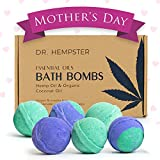 Natural Bath Bomb Mother's Day Gift Set - Hemp Bath Bombs with Organic Coconut Oil, Shea Butter, Refreshing Eucalyptus and Relaxing Lavender for Men and Women - Handmade in USA - 6 Pack