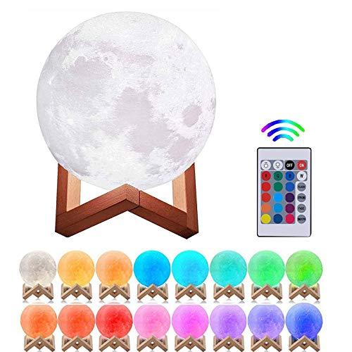 Lámpara de Luna 3D, 20CM16 Colores USB Cambio de 3D Lámpara de Control de Luz de Luna con Soporte...