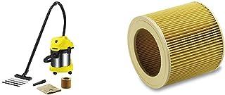 K?rcher WD 3 Premium - Aspirador en seco y h?medo, 1000 W, 17 l + K?rcher Filtro de cartucho WD2-WD3