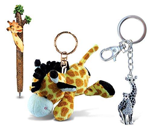 Puzzled Giraffe Planet Pen, Plush Keychain and Sparkling Charm - Animals Zoo Animals Theme - Set of 3 - - Item #K3692-5823-6617