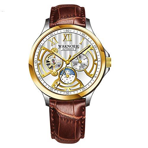 Relojde Hombre Relojde Tourbillon Impermeable Relojmecánico de Hombre Relojautomático de Esqueleto de Moda Relojde Acero Inoxidable Negro
