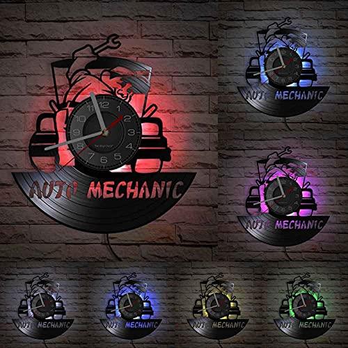Taller de reparación de mecánico de automóviles Reloj de Pared con Disco de Vinilo Signo de Garaje Reloj Vintage Servicio de reparación de automóviles Decoración Entusiasta de automóviles Regalo