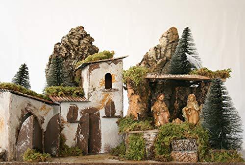 euromarchi Belén navideño vacío Casitas de Piedra Bosque, Paja y Musgo, Multicolor, 58 x 34 x 37 cm