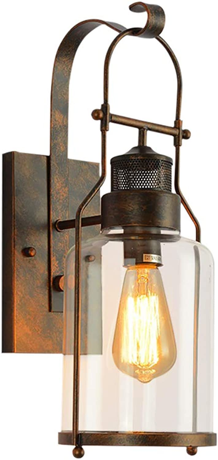 Lightess Glass Sconces Retro Farmhouse Wall Lights Antique Rust Wall Lamp for Barn Kitchen Bedroom, DYS570