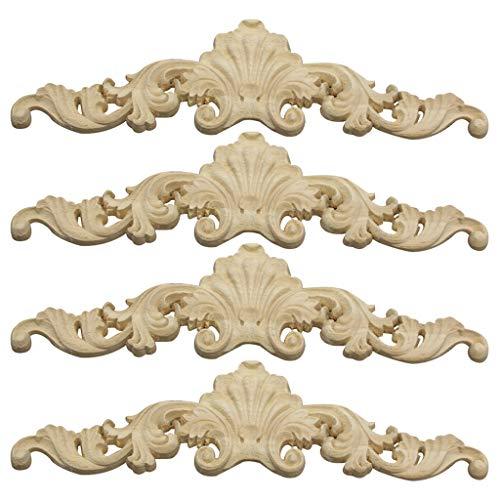 Vosarea 4pcs Applique en Bois Sculpt/é Fleur Style Europ/éen Vintage Non Peints pour D/écoration Armoire Meubles Fen/être Miroir Porte