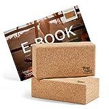 Yogibato Bloque Yoga de Corcho con E-Book en inglés con Ejercicios │ Set de 2pcs │ Block de Corcho Natural para Pilates y Ejercicios Fitness – Bloque Hecho de Corcho 100% Natural