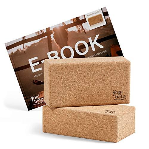 Yogibato Yoga Block Sughero con e-Book in Inglese con Esercizi| 2 Blocchi | Blocco di Sughero per Yoga e Fitness e Pilates – Mattoncini - Yogablock Realizzato in Sughero Naturale al 100%