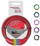 probock Candado de bicicleta para niños con código numérico y cable de candado para bicicleta infantil, tamaño 10 x 650 mm, edición 2021 (rojo)