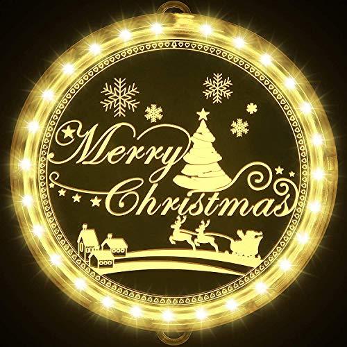 Luces LED de Navidad colgantes de discoteca, disco 3D acrílico para colgar, decoración de la casa, cortinas de dormitorio (Merry Cristmas)