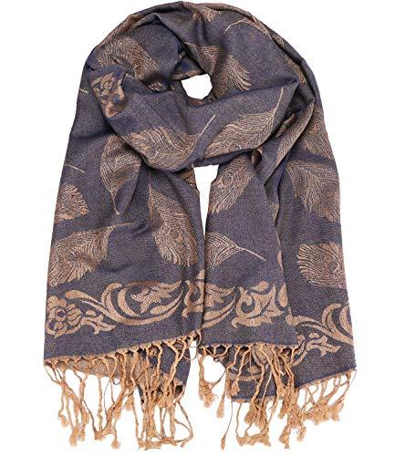 Caripe Caripe eleganter großer Damen Schal Paisley Stola XXL Halstuch Blumen Muster, stol99 (10wj jeansblau)