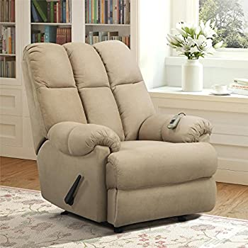 Dorel Living  Tan Padded Dual Massage Recliner