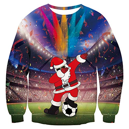 Santa Sweatshirt Male Female Black Blue Father Christmas Sweater Swag Football Stars Soccer Field 3d Printing Shirts Festive Ugly Sweaters Suit for Home Outdoor Casual Sweater Party S