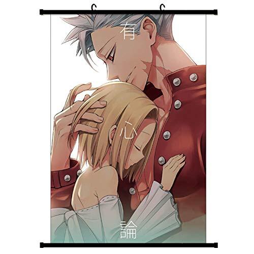 ALTcompluser Anime The Seven Deadly Sins immagine di cacemono Wallscroll decorativo da parete in tessuto poster sospeso, decorazione da parete, Tessuto, Ban & Elaine, 40 × 60 cm