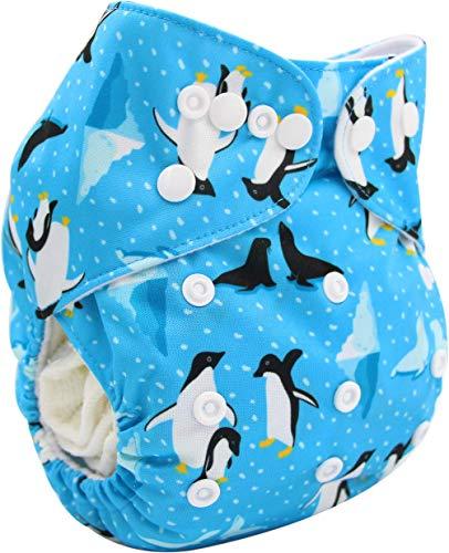OHBABYKA Couche de poche réutilisable lavable avec 1 insert (pingouin)