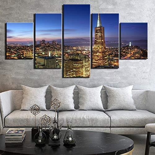 5 Paneles Pintura en lienzo Arte de la pared Impresiones en HD Imágenes Cartel moderno de la vista de la ciudad para la decoración...