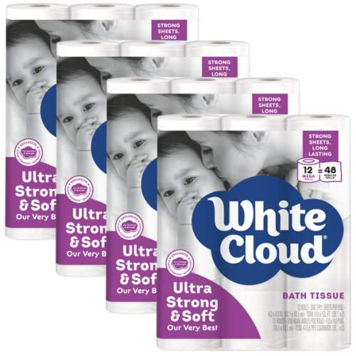 White Cloud Strong & Soft 2 Ply Toilet Paper, 48 Mega Rolls (Pack of 4 with 12 Rolls Each), 308...
