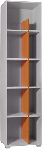 Mirjan24  Regal Yuko YU11, 5 Einlegeb n, Bücherregal, Universal Regal, Schranke, Standregal, Dekoregal für Kinderzimmer (Hell Grau Orange)