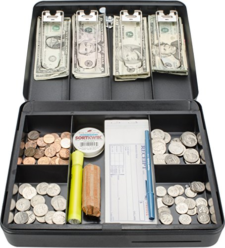 BARSKA CB13052 Key Lock Standard Fold Out Cash Box with 5 Section Tray, 9.5' x 12' x 3.5', Black
