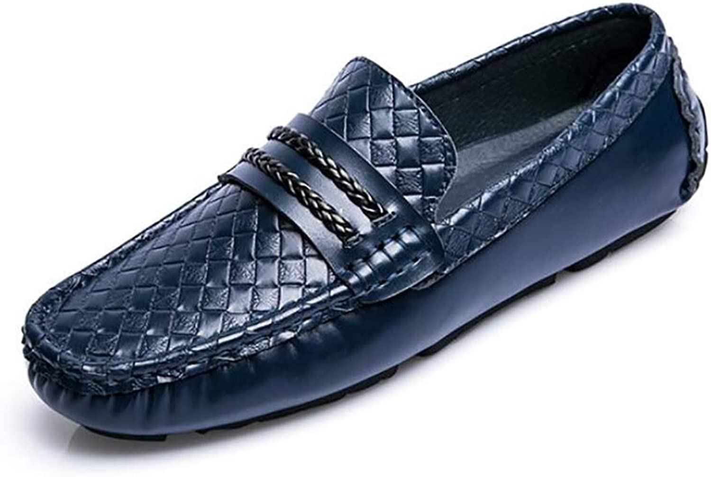 YUAN Herren Casual Flache Müßiggänger, Komfortable Peas Schuhe Leder Leder Leder Müßiggänger & Slip-One Fußset Fahrschuh Rutschfestes Kleid,Blau,44 34fa4a