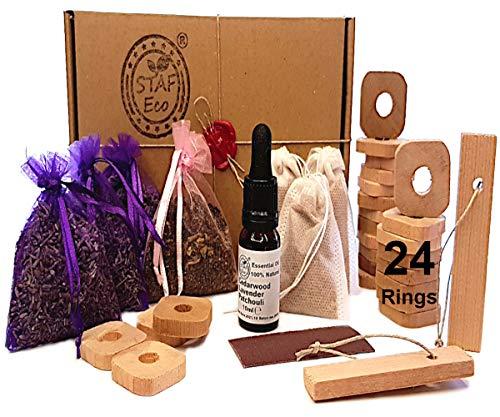 STAFECO Mottenschutz für Kleiderschrank, natürliches Set, Zedernholz Ringe, Lavendel,1 öl Beutel, Patschuli100% (Large C)