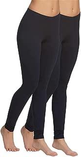   Velvet Soft Lightweight Leggings   2 Pack (Black, Small)