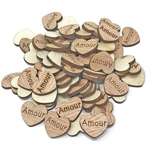 15 mm Amour Cœurs en bois style shabby chic Craft Scrapbooking Vintage Confetti coeurs – Lot de 100