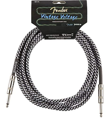 Fender 099-0822-002 Cable de guitarra vintage de 12 pies de voltaje - Tweed gris - Edición Ltd
