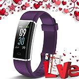 Lintelek Fitness Armband Fitness Tracker mit Pulsmesser 0,96 Zoll Farbdisplay Fitness Uhr Armband Uhr Schlafmonitor Aktivitätstracker Vibrationsalarm GPS X-Mas Gift