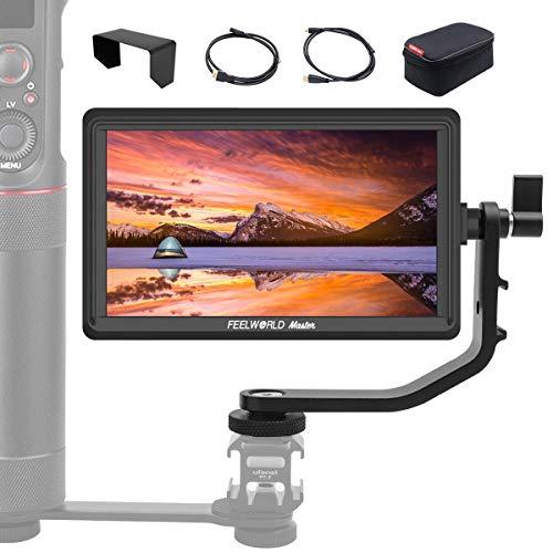 FeelWorld Master MA6P Kamera Monitor 5,5 Zoll DSLR Field Monitor 4K Externer Feldmonitor Video 1920x1080 Full HD DC-Ausgang mit Kipparm HDMI Kabel Dual-Batterieplatte für Canon Nikon Panasonic Sony