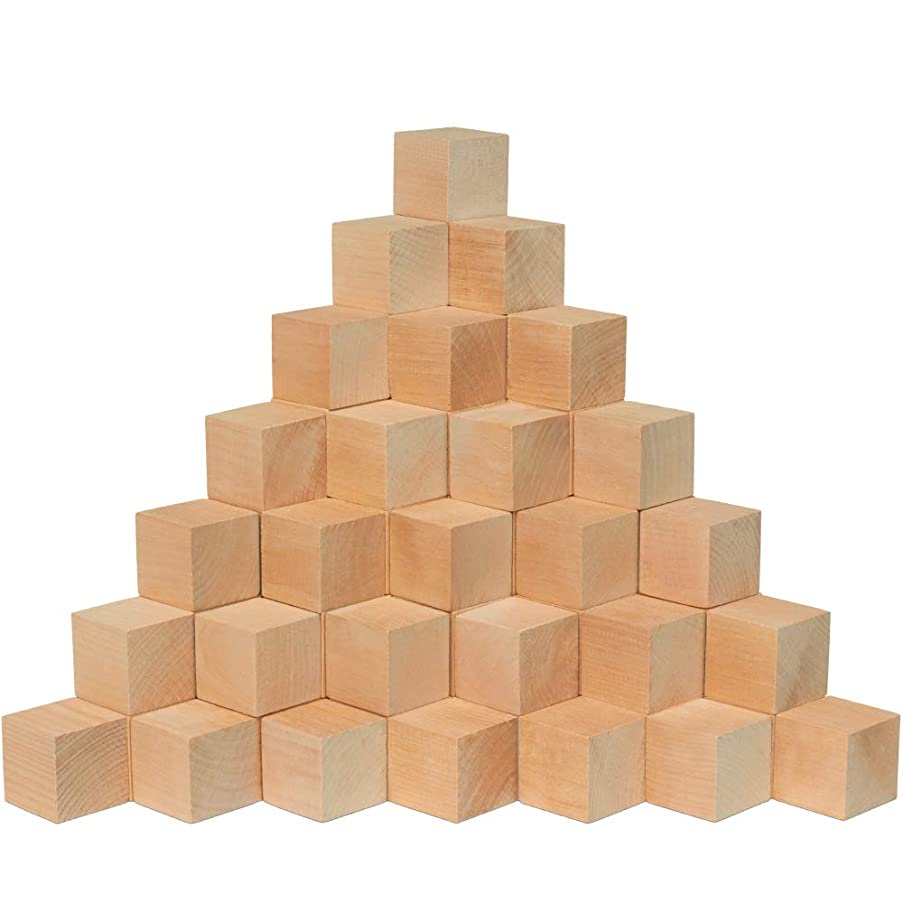 Wood Blocks, 1-1/2 Inch Cubes, 24 Pack | Unfinished Wooden Toy Craft Supply Kit for Kids & Adults, DIY Art Projects, ABC Toys | Woodpeckers Crafts