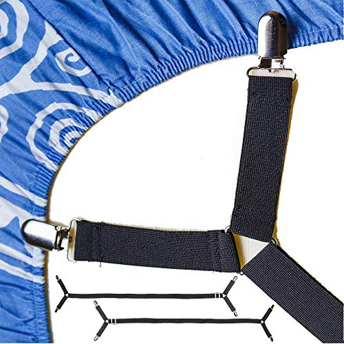FeelAtHome Bed Sheet Holder Straps Criss-Cross - Sheets Stays Suspenders Keeping Fitted Or Flat Bedsheet in Place - for Twin Queen King Mattress Holders Elastic Clips Grippers Fasteners Garters Bands