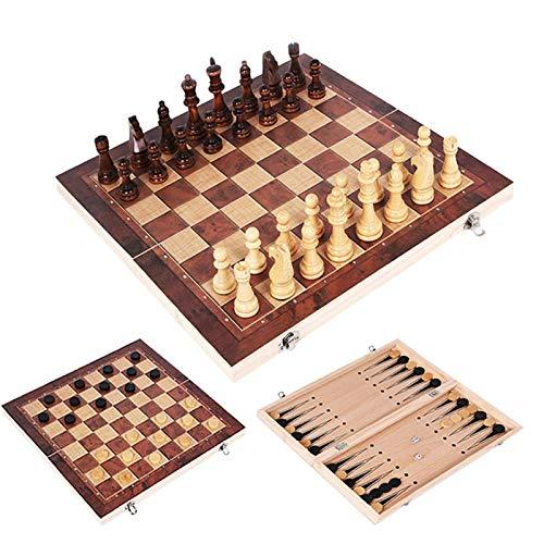 MAZ Schachspielbrett Für Kinder Erwachsene 3 In 1 Schach Set Holzschachspiel Backgammon Checkers Faltbare Schachbrett Spiel Set Geschenke Schachfiguren Schachman,39X39Cm