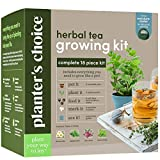 Grow 4 of Your Own Organic Herbal Tea Kit + Stainless Steel Tea Infuser - Chamomile, Peppermint, Lemon Balm, Red Clover - Everything Included: Pots, Soil, Seeds, Booklet, Bamboo Plant Labels
