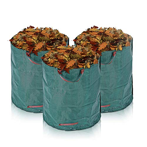 MAXCRAFT 3 x 280 Liter Gartensäcke Laubsäcke Gartenabfallsack Gartentasche Abfallsack Garten Faltbar aus robustem Polyethylen