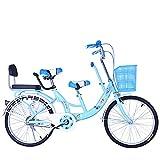 FLYFO Bicicletas Tándem para Padres E Hijos, Bicicletas para Madres E Hijos De 22 Pulgadas,...