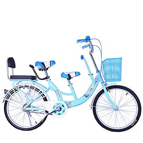 FLYFO Bicicletas Tándem para Padres E Hijos, Bicicletas para Madres E Hijos De 22 Pulgadas, Bicicletas para Hombres Y Mujeres para Madres Y Bebés, Bicicletas,Azul