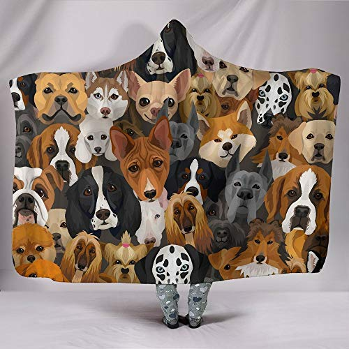 Dogs Animals Pets Hooded Blanket for Adults and Kids, Sherpa Blanket with a Hood, Soft Blanket