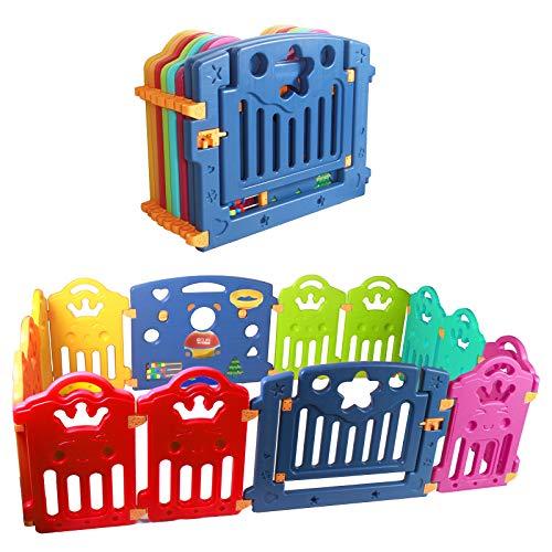 CCLIFE Laufgitter Laufstall Baby Absperrgitter Faltbar Gro Krabbelgitter kunststoff Schutzgitter Babyzaun mit Tr und Spielzeug indoor outdoor