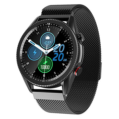 XYG Pantalla Redonda de Pantalla Redonda Completa Pulsera M98 Podómetro Banda de Acero Bluetooth Smart Reloj Tasa del corazón y presión Arterial,C