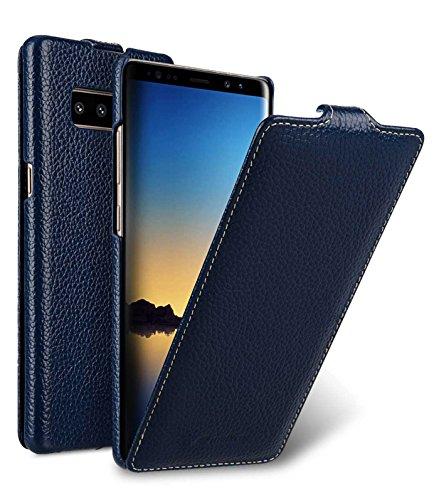 Edle Tasche für Samsung Galaxy Note 8 / SM-N950 / Case Außenseite aus beschichtetem Leder / Cover Innenseite aus Textil / Schutz-Hülle aufklappbar / ultra-slim Flip-Case / dünnes Etui / Blau