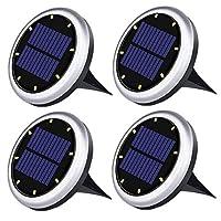 ソーラー地下照明8LED屋外照明防水ガーデンライトバルコニーライトガーデンデコレーション芝生ライトホワイトライトホワイトシェル(4パック)