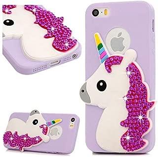 MOLLYCOOCLE iPhone SE Unicorn Case, Glitter Bling Sparkle Rhinestone Unicorn Case Cover for iPhone 5 & 5S & SE Women Girls - Purple