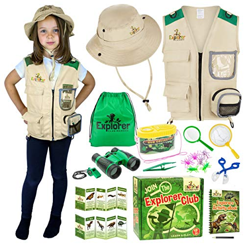 Kids Explorer Kit Bug Hunting Kit for Children - Including Exploration Costume - Safari Vest and Hat - Binoculars and Insect Catching Equipment. Suitable Toys for Boys and Girls aged 3-7 Years Old