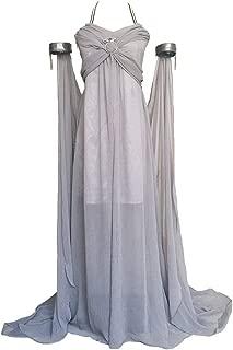 Women's Chiffon Dress Halloween Cosplay Costume Grey Long Train Dress