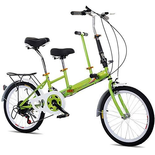 """Yunrux 20\""""Faltrad 2-Sitzer Familienfahrrad Klapprad für 2 Kinder Tandem-Fahrrad klappbares Fahrrad Camping Bike 7 Geschwindigkeiten Grün"""